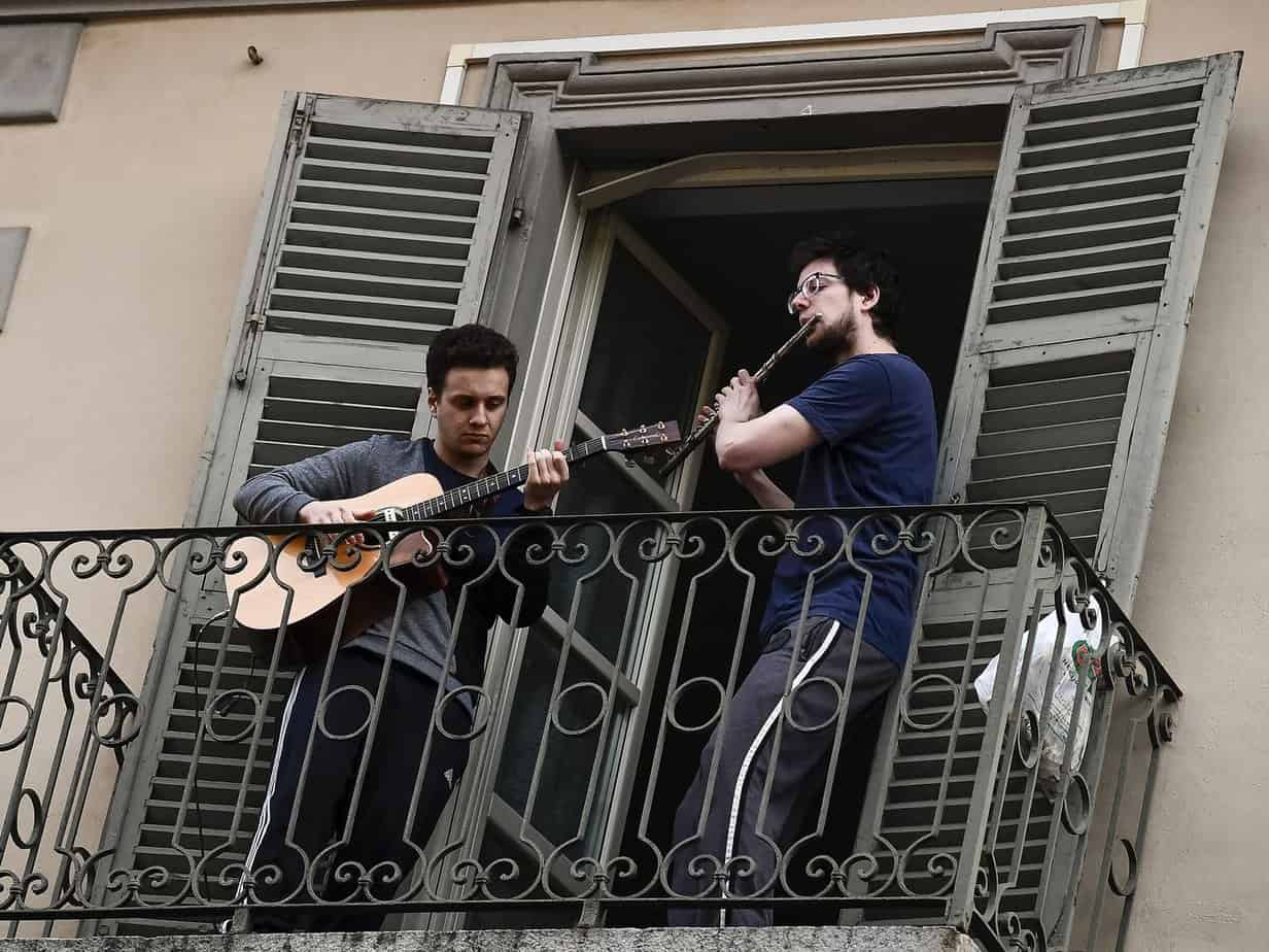 Italians Sing Together from Balconies