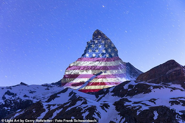 American Flag Projected onto Matterhorn in Swiss Alps